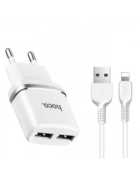 HOCO C12 NETWORK CHARGER + LIGHTNING CABLE WHITE