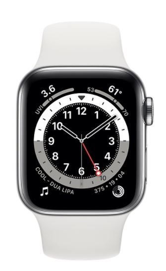 Apple Watch Series 6 GPS + Cellular, 40mm Silver Stainless Steel Case with White Sport Band - Regular
