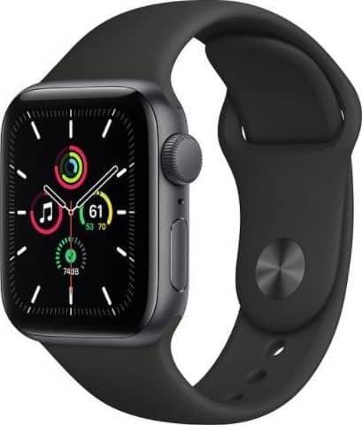 Apple Watch SE GPS + Cellular, 44mm Space Gray Aluminium Case with Black Sport Band - Regular